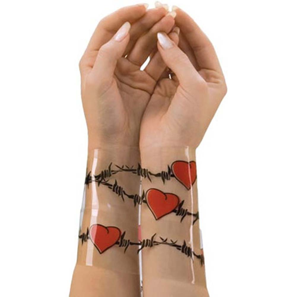 Reusable Designer Bondage Tape with Barbed Wire Hearts 30 Feet - View #2