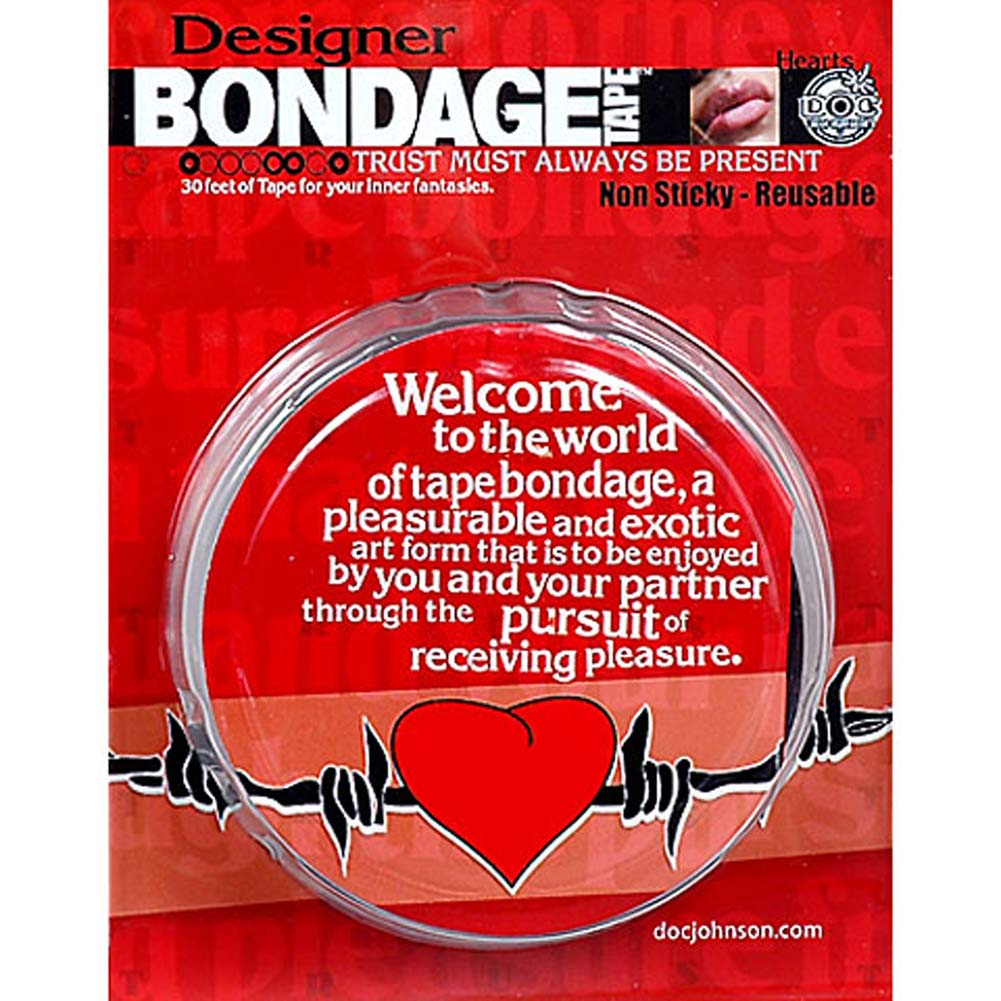 Reusable Designer Bondage Tape with Barbed Wire Hearts 30 Feet - View #3