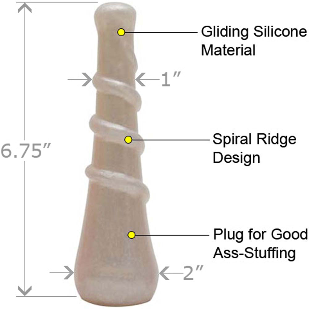 "PLATINUM the King Spiral Silicone Dildo 6.75"" White Pearl - View #1"