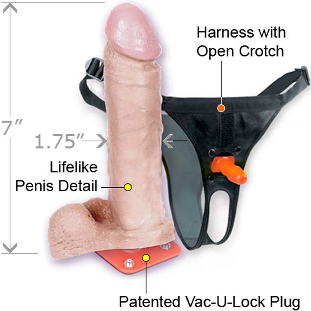 "Vac-U-Lock Ultra Harness Set and UltraSKYN 7"" Cock with Balls - View #1"