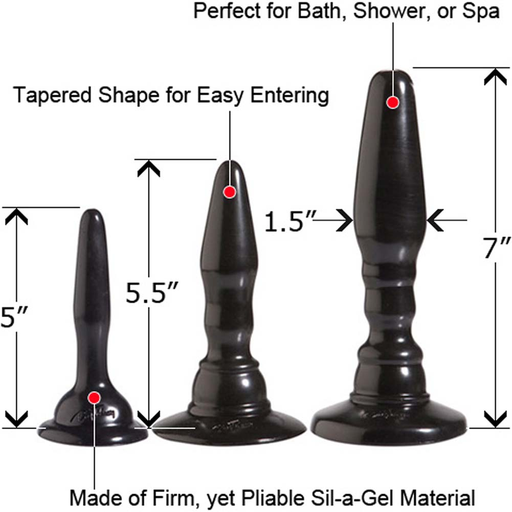 "Wendy Williams Anal Trainer Kit with 3 Butt Plugs 7"" Black - View #1"