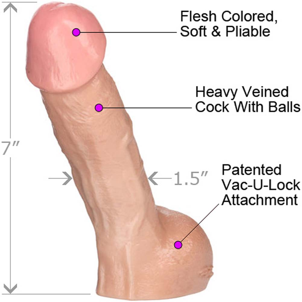 "Vac-U-Lock Perfect Realistic Erect Cock 7"" Flesh - View #1"
