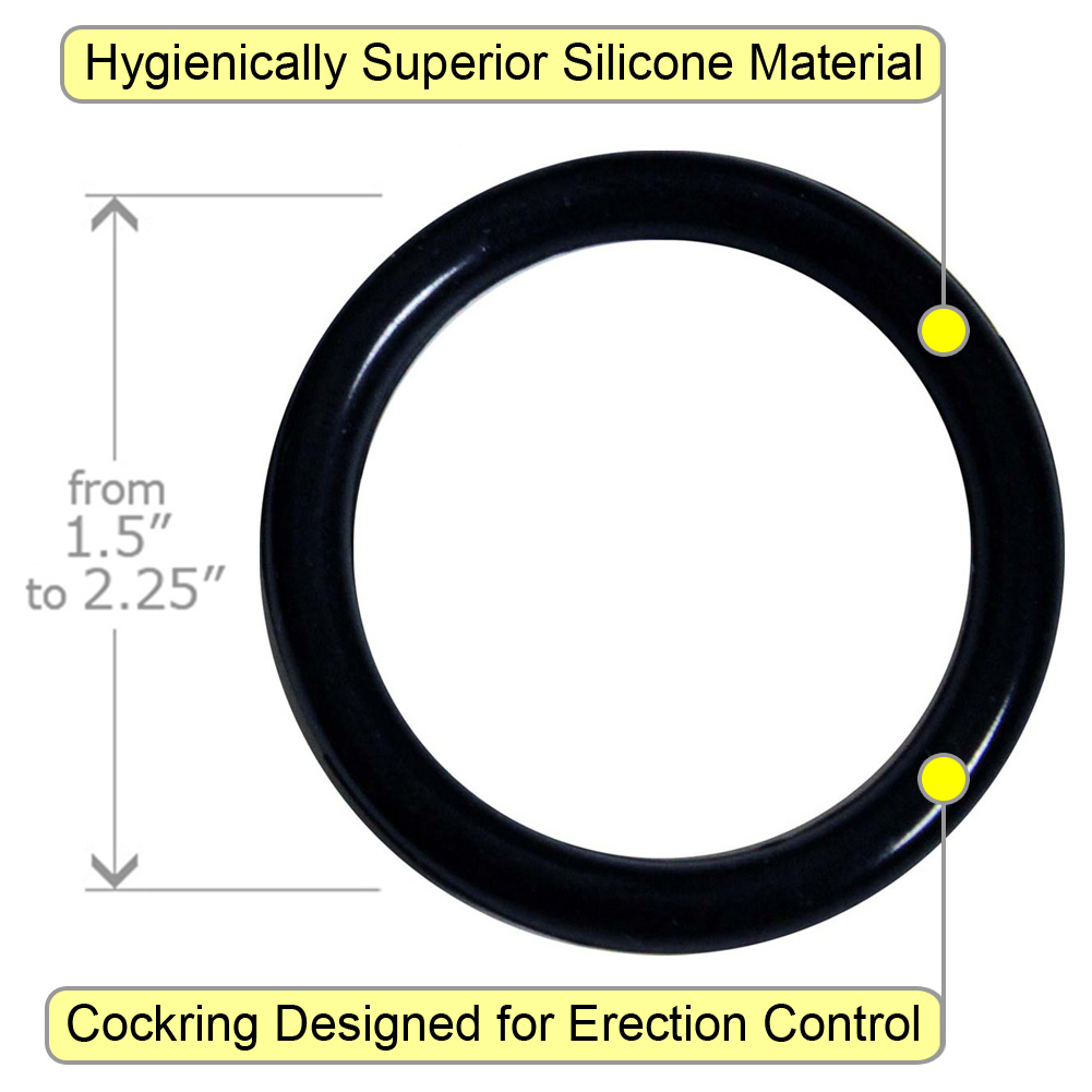 OptiSex Premium Silicone Erection Control Ring Set Bigger Black - View #1