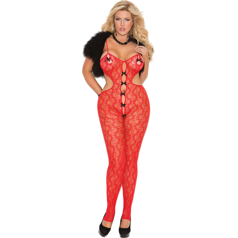Lace Bodystocking with Open Crotch and Satin Bow Detail. - View #1