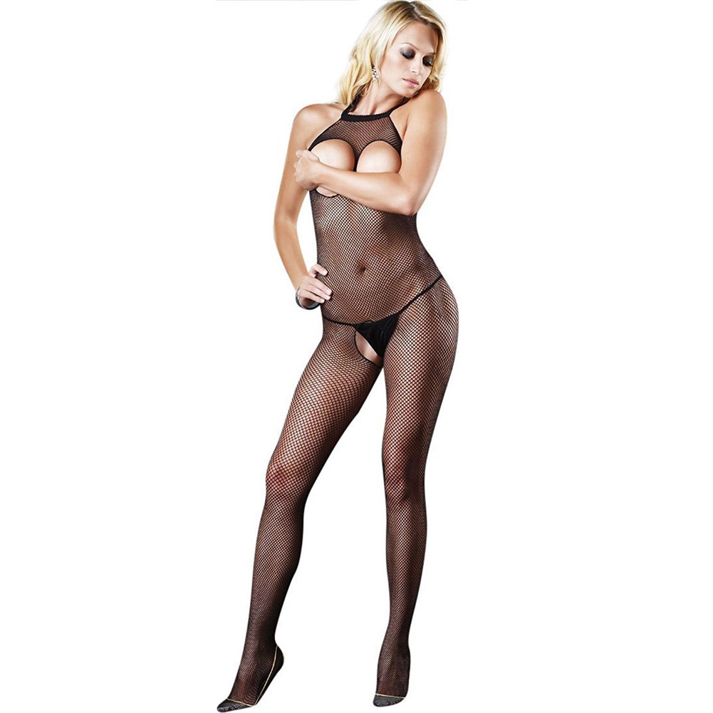 Seamless Fishnet Halter Bodystocking Black - View #1