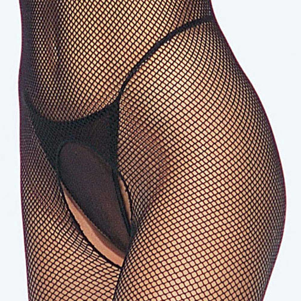 Seamless Fishnet Halter Bodystocking Black - View #4