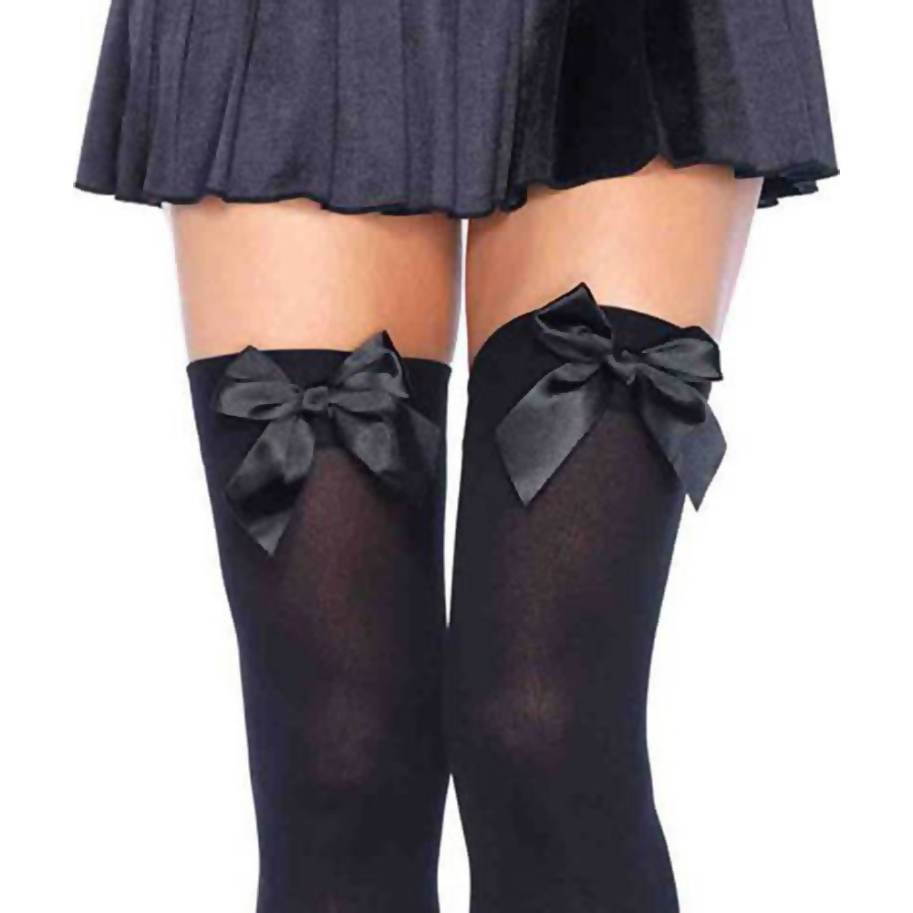 Opaque Thigh Hi with Satin Bow One Size Black - View #2