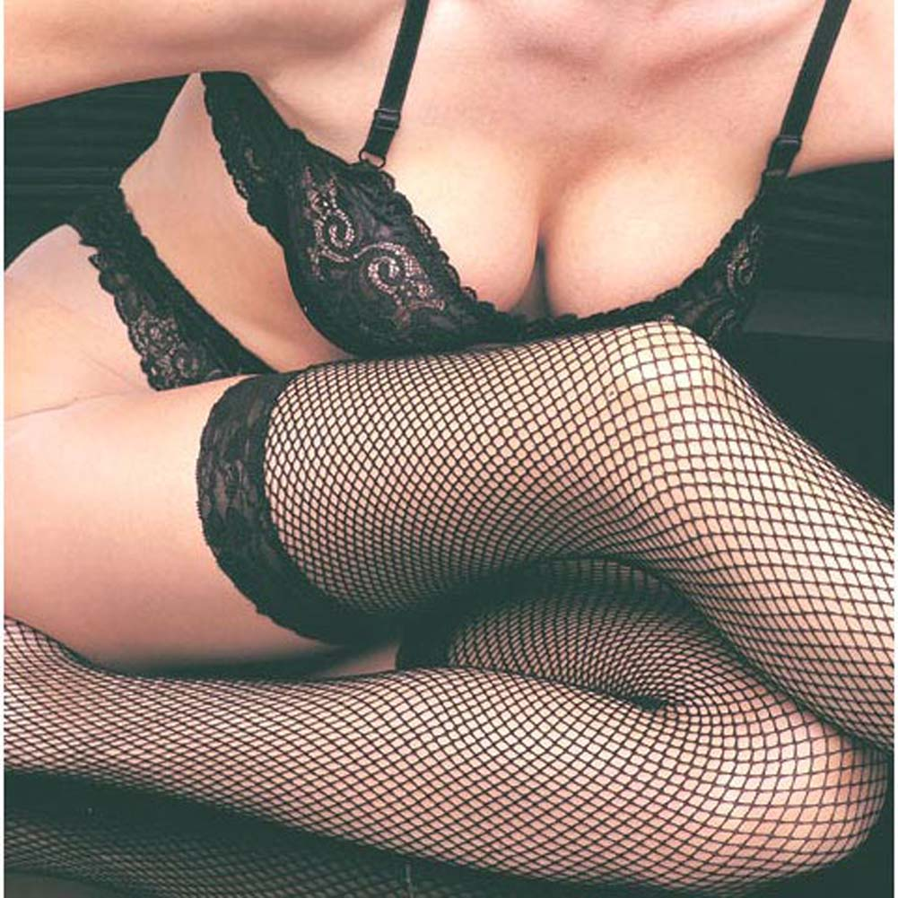 Fishnet Thigh Highs with Lace Top Black Plus Size - View #3