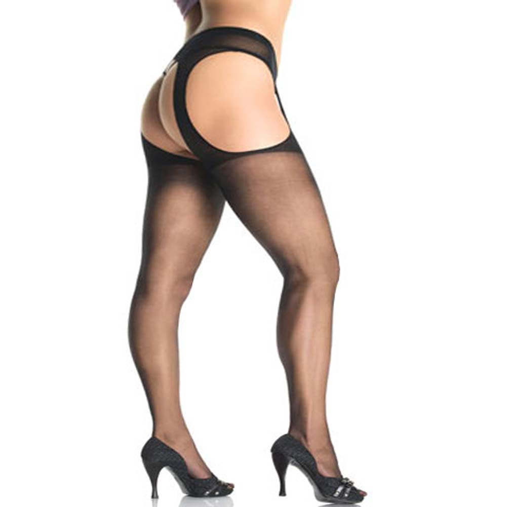 Leg Avenue Sheer Suspender Pantyhose Plus Size Black - View #1