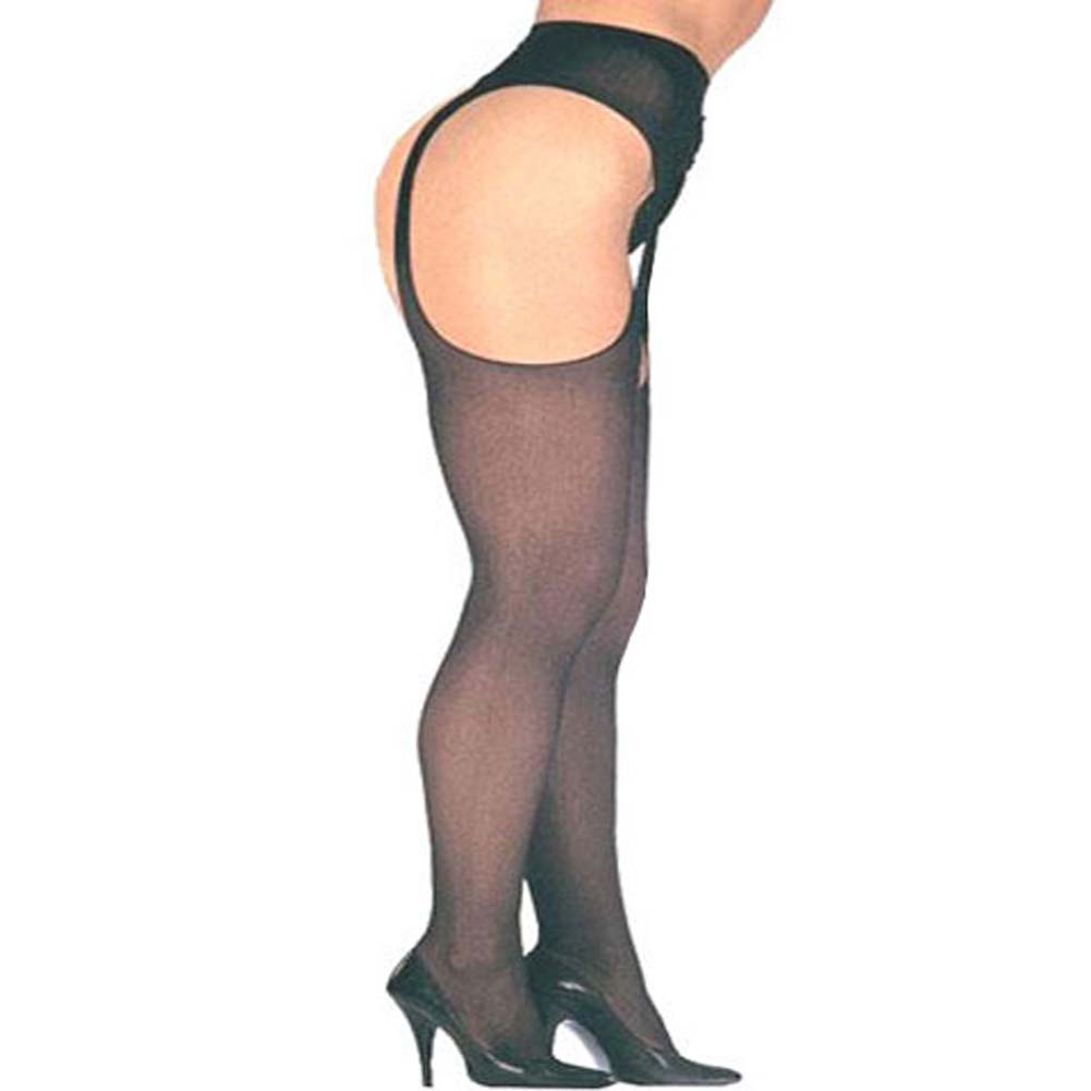 Leg Avenue Sheer Suspender Pantyhose Plus Size Black - View #2
