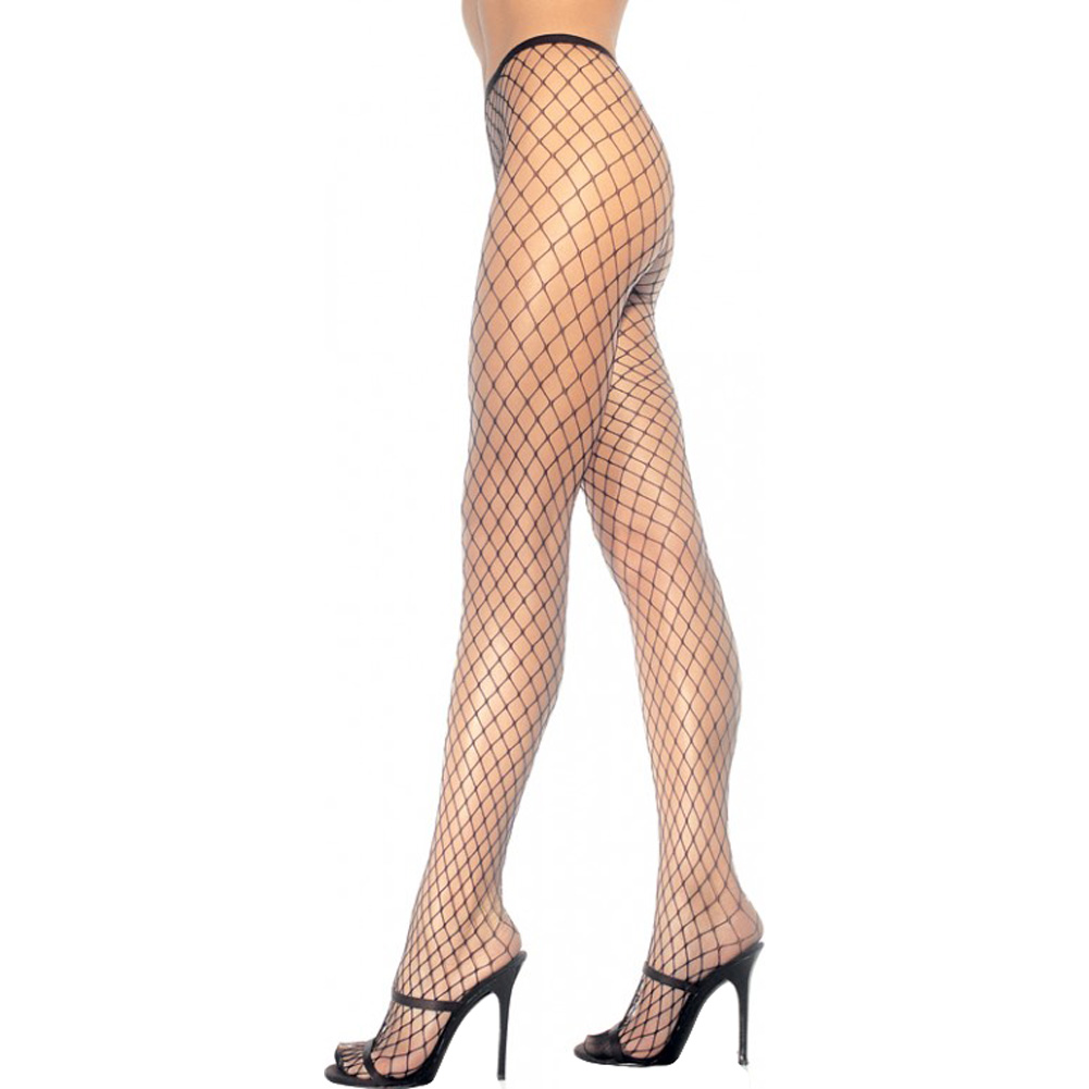 Spandex Diamond Net Pantyhose One Size Black - View #1