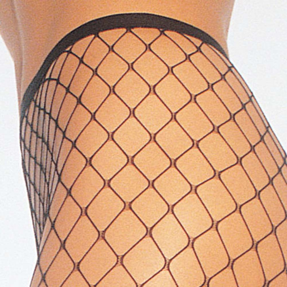 Spandex Diamond Net Pantyhose One Size Black - View #3