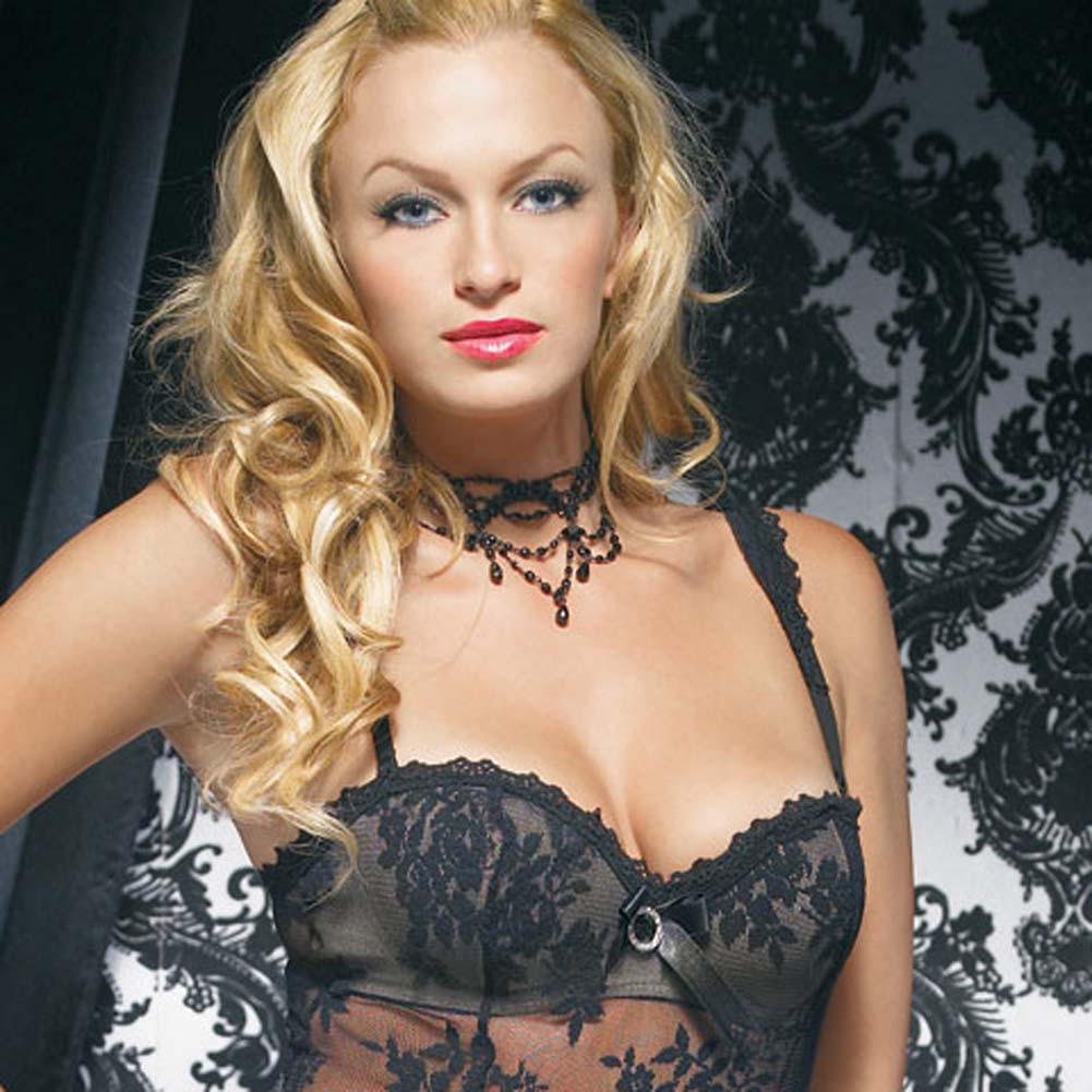 Lace Mini Dress with Underwired Bra Shell and Thong Medium Black - View #3