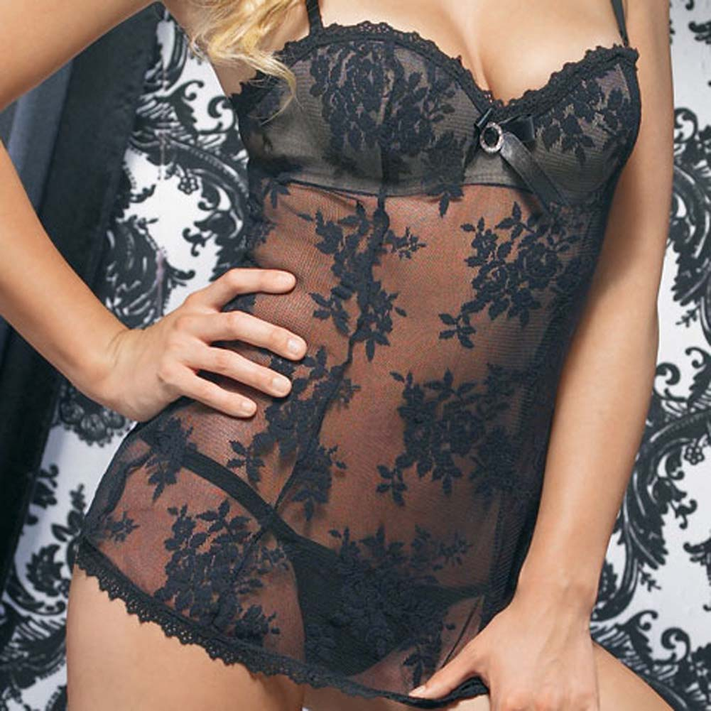 Lace Mini Dress with Underwired Bra Shell and Thong Medium Black - View #4