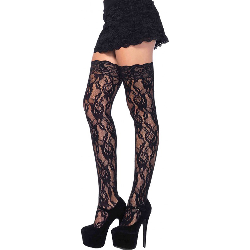 Rose Lace Thigh Highs with Lace Top Stockings One Size Black - View #1