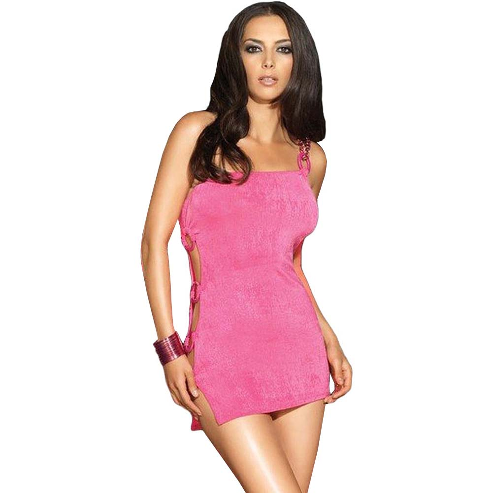 Leg Avenue Single Strap Cutout Mini Chemise Small/Medium Hot Pink - View #1
