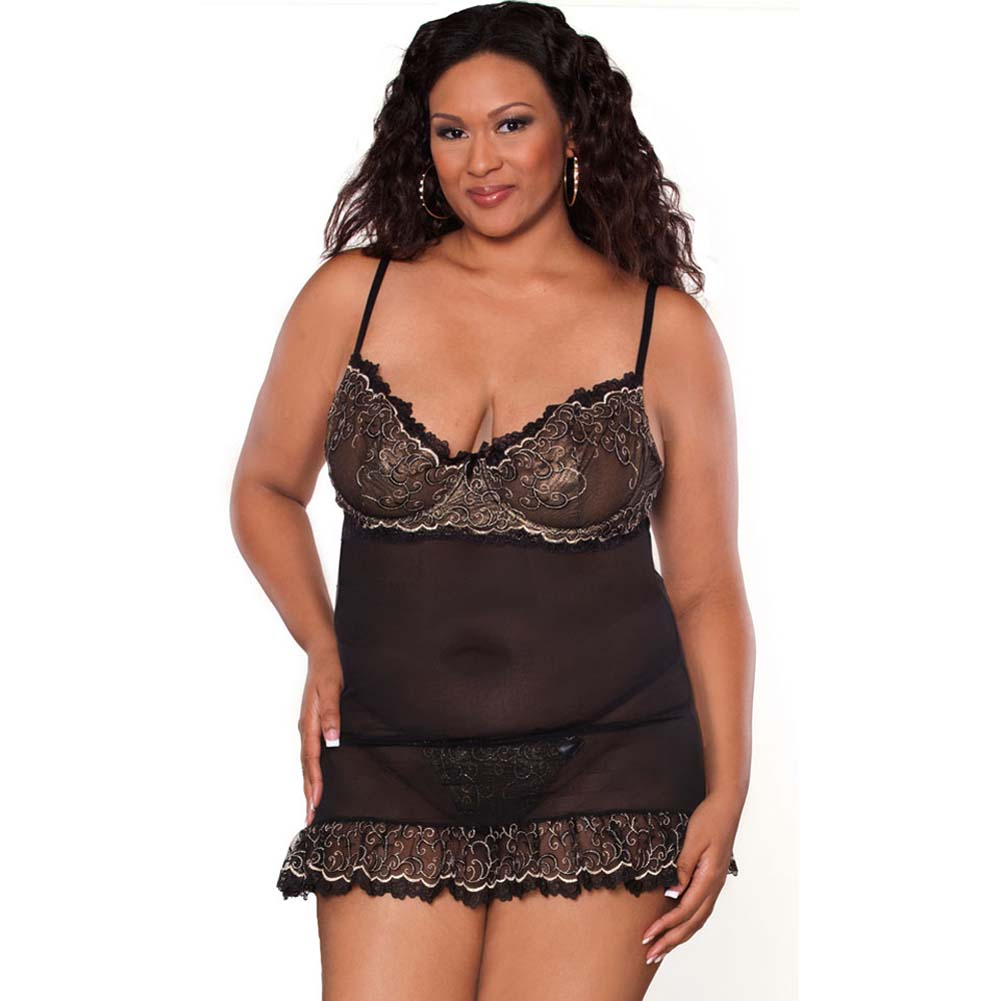 Absolute Treasure Demi Babydoll and Panty 1X Black/Gold - View #1