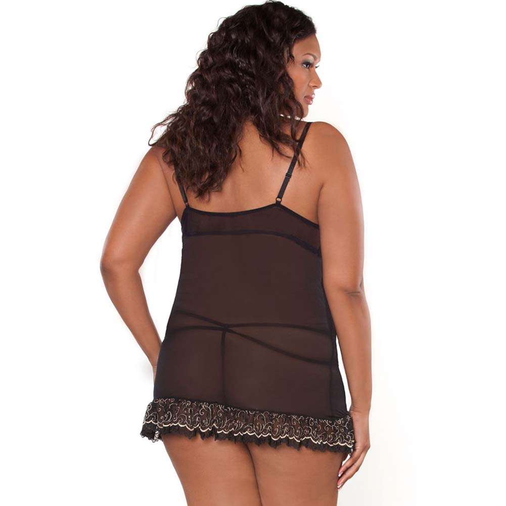 Absolute Treasure Demi Babydoll and Panty 2X Black/Gold - View #2
