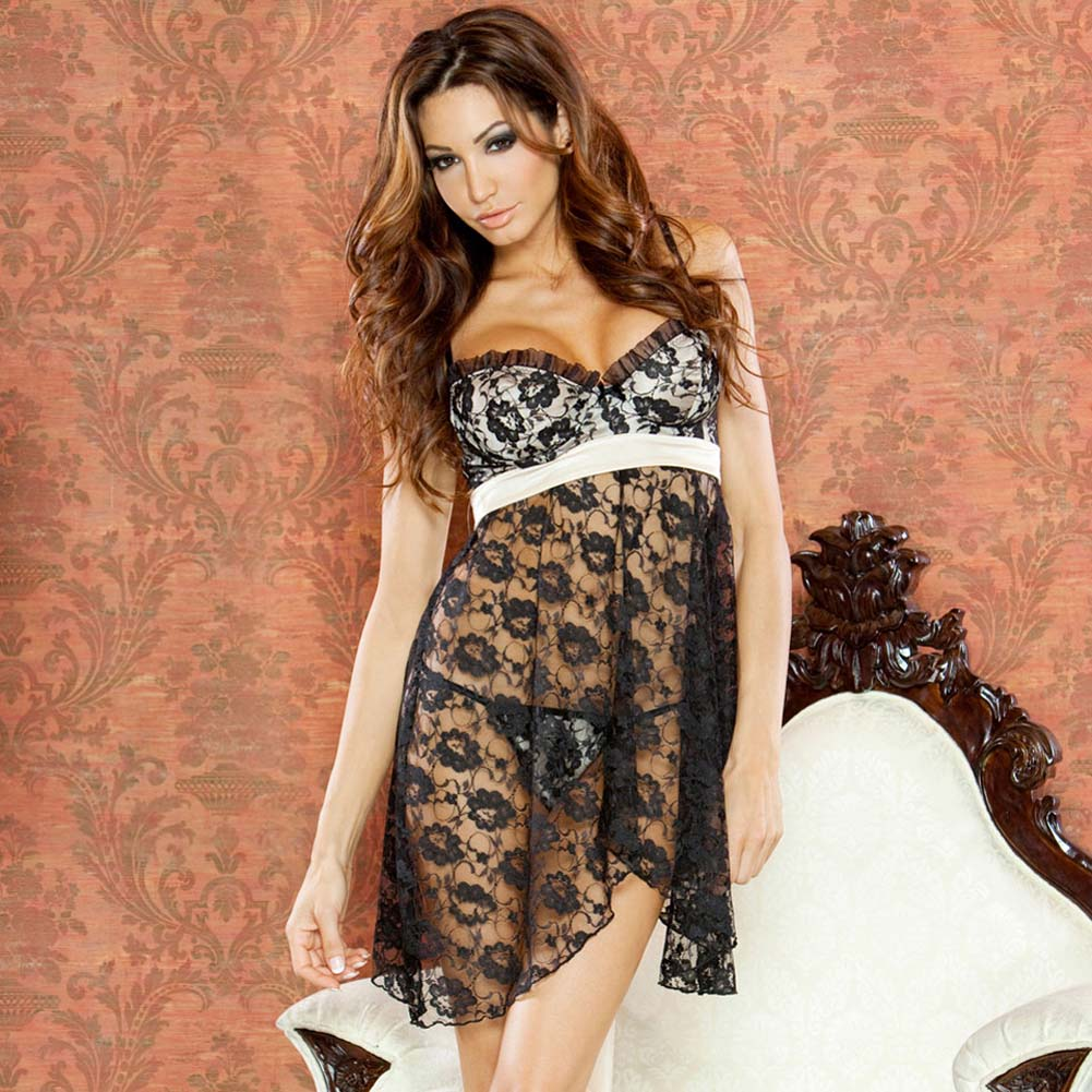 Nude Affair Tieback Lacey Babydoll and Thong Large Black - View #1