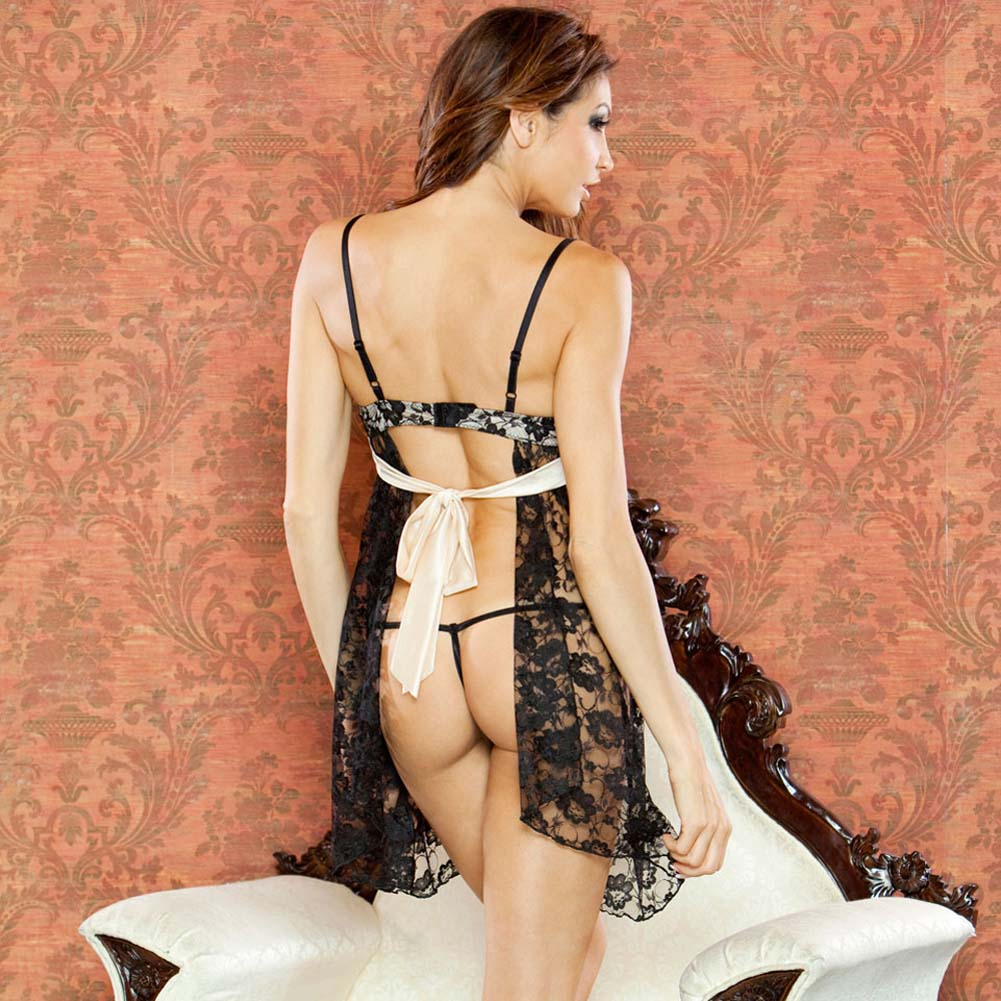 Nude Affair Tieback Lacey Babydoll and Thong Large Black - View #2
