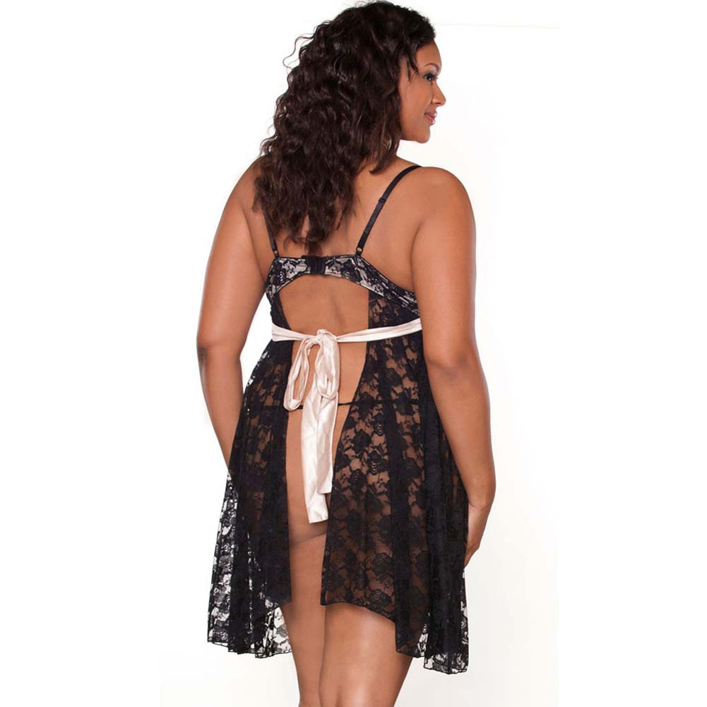 Fantasy Lingerie Nude Affair Tieback Lacey Babydoll and Panty 2X Black - View #2