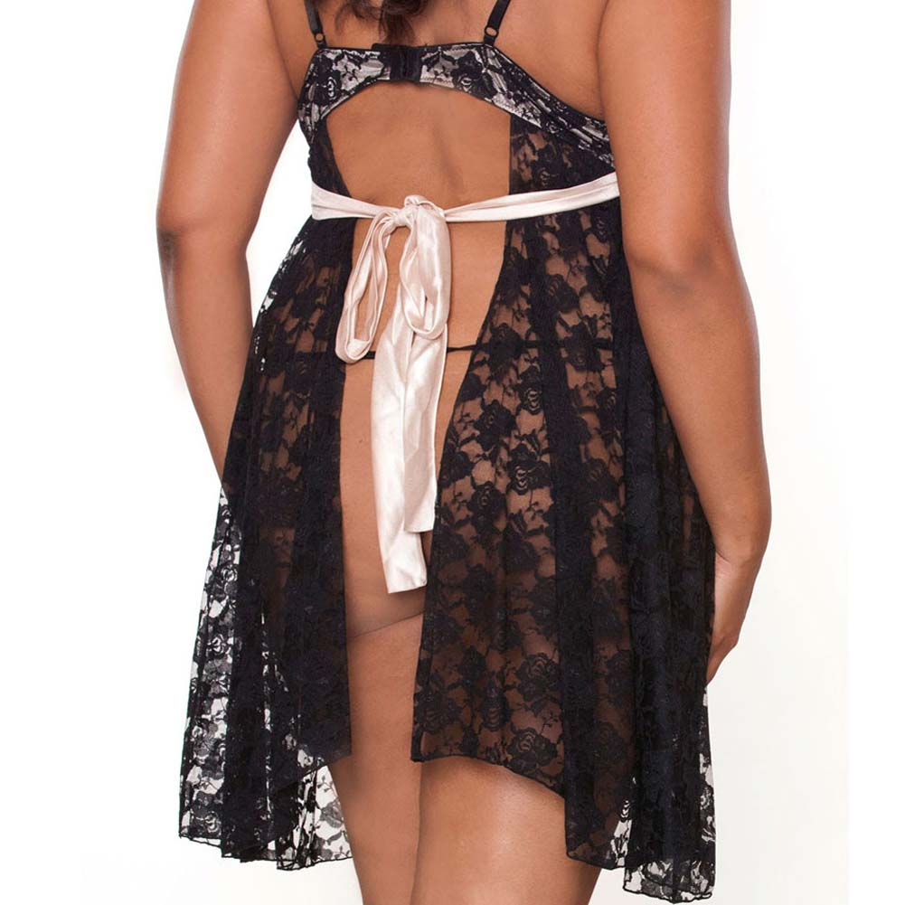 Fantasy Lingerie Nude Affair Tieback Lacey Babydoll and Panty 2X Black - View #4