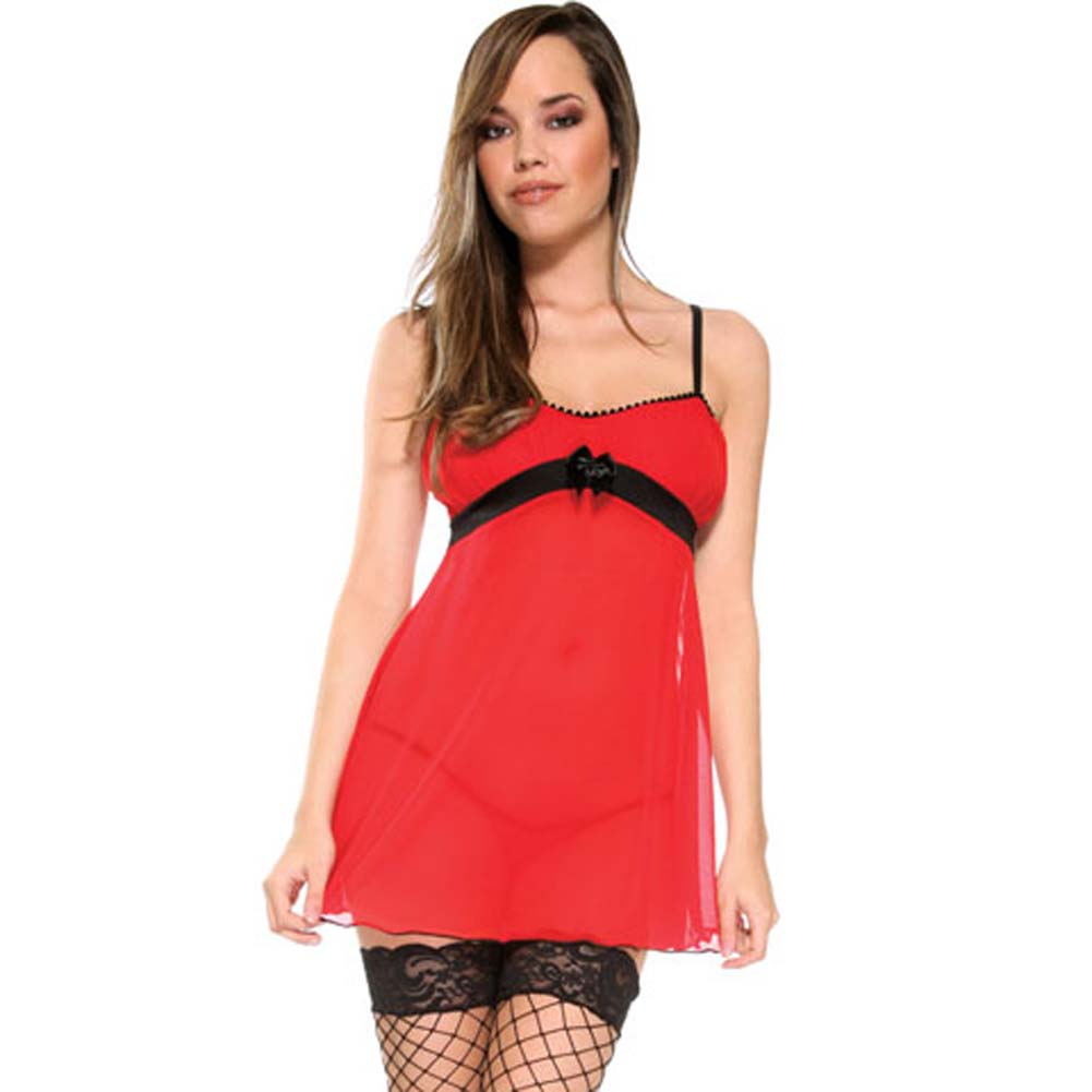 Foreplay Lingerie Heartache Bustier Sequin Skirt and Panty One Size Romantic Red/Black - View #1