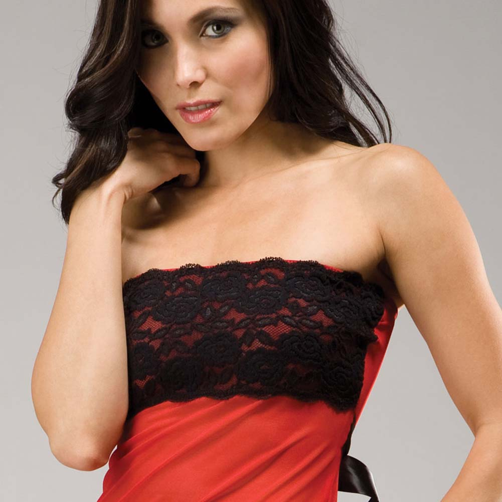 Love Story Sensual Lace Strapless Chemise Romantic Set One Size Black and Red - View #4