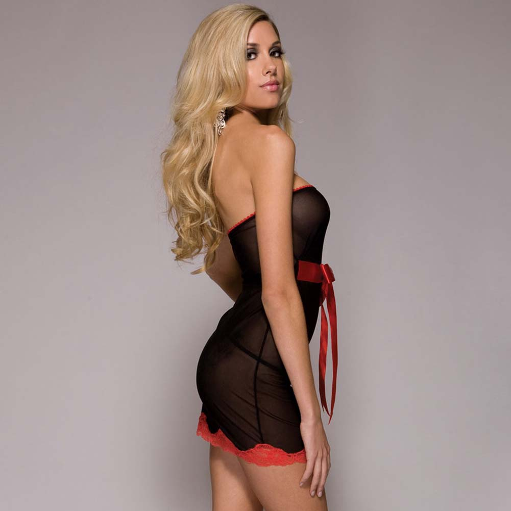 Sweet Escape Strapless Chemise with Ribbon and Panty Set One Size Black - View #3
