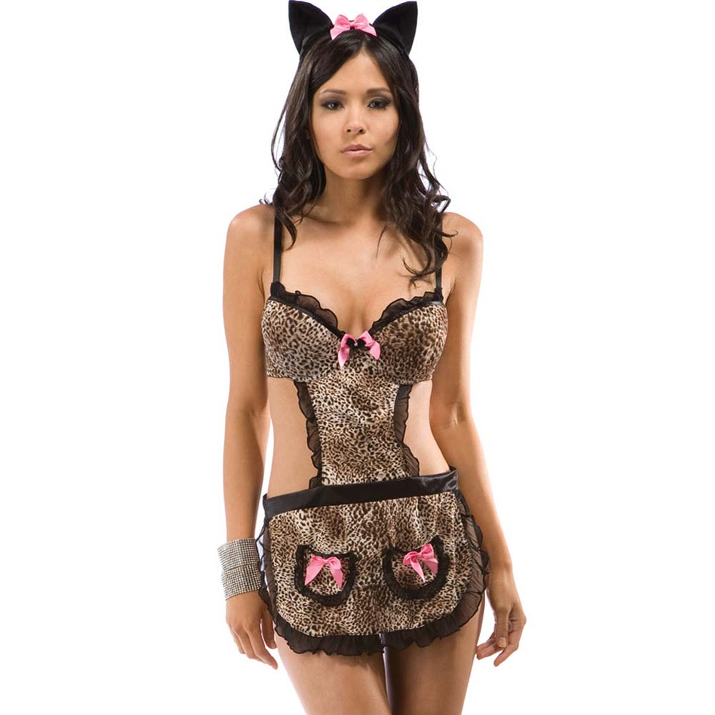 Purrfection Kitty Apron with Headband and Thong One Size Animal Print - View #1