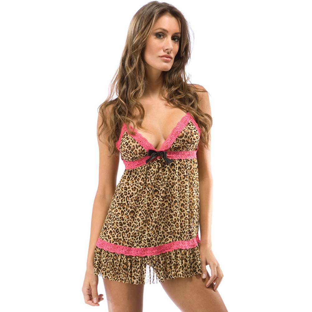 Forplay Wild Kat Babydoll Chemise and Panty Set One Size Animal Print - View #1