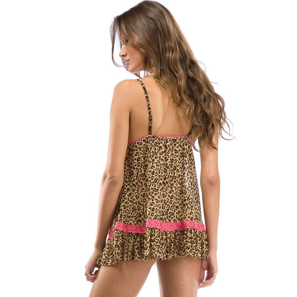 Forplay Wild Kat Babydoll Chemise and Panty Set One Size Animal Print - View #2