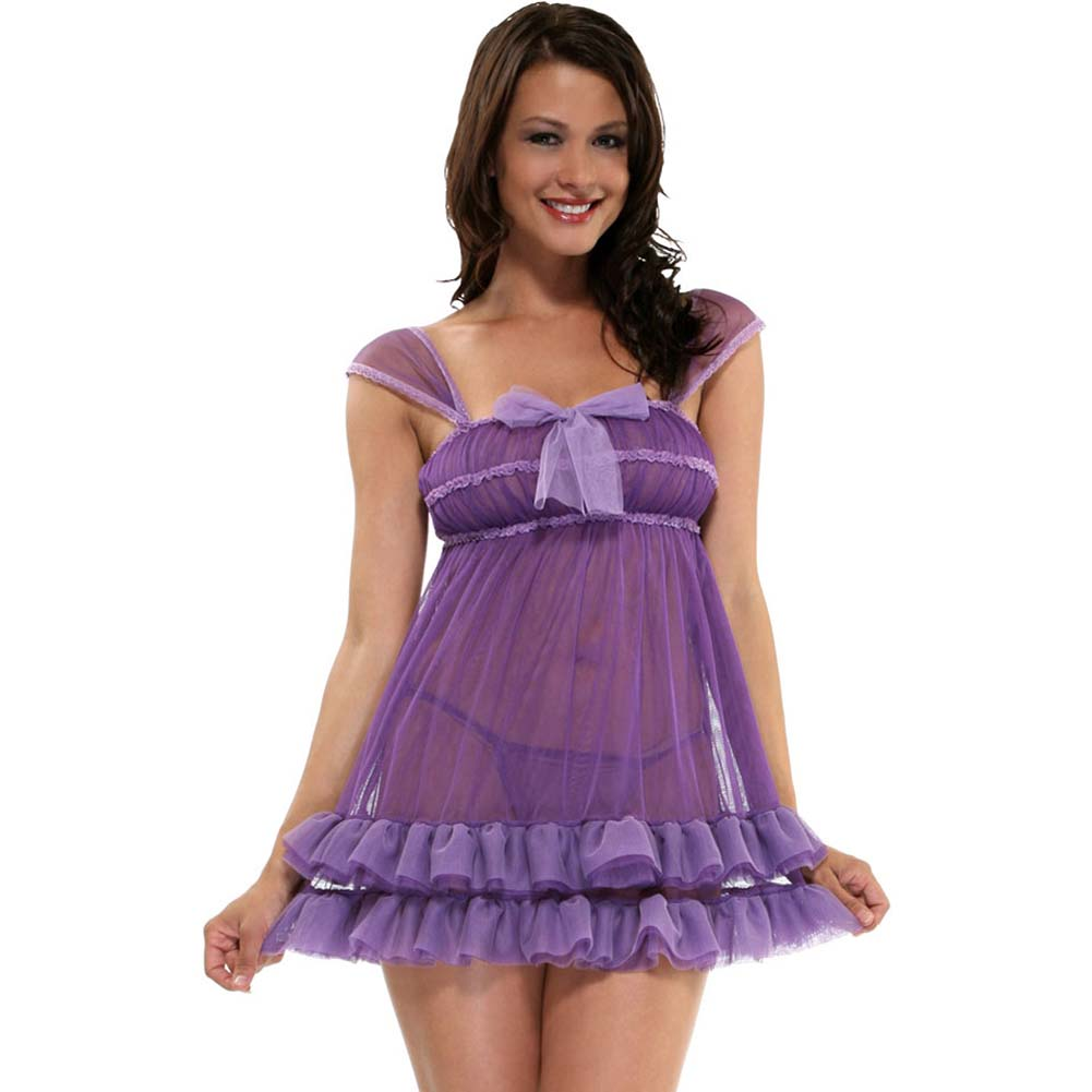Purple Passion Babydoll Chemise Lingerie and Panty Set One Size Lilac - View #1