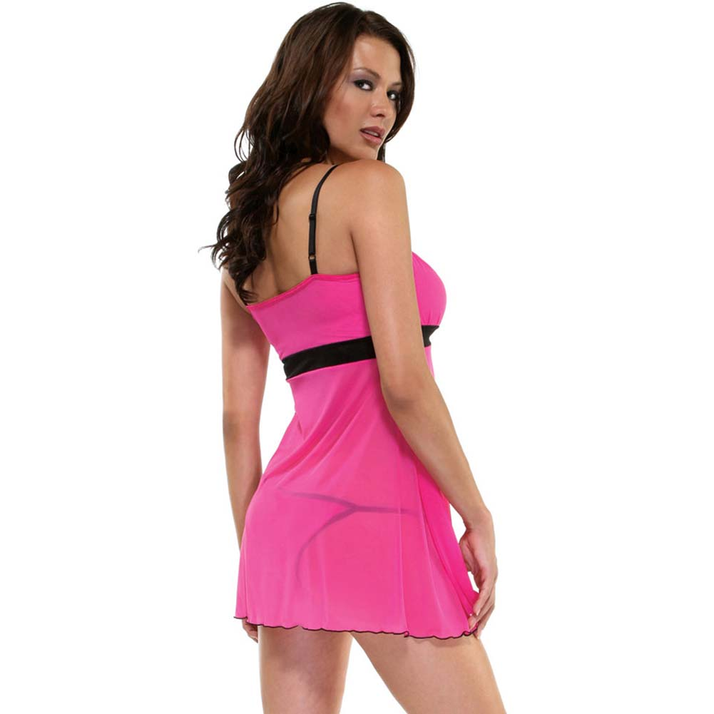Foreplay Lingerie Sweetie Babydoll and Panty Set One Size Hot Pink - View #2