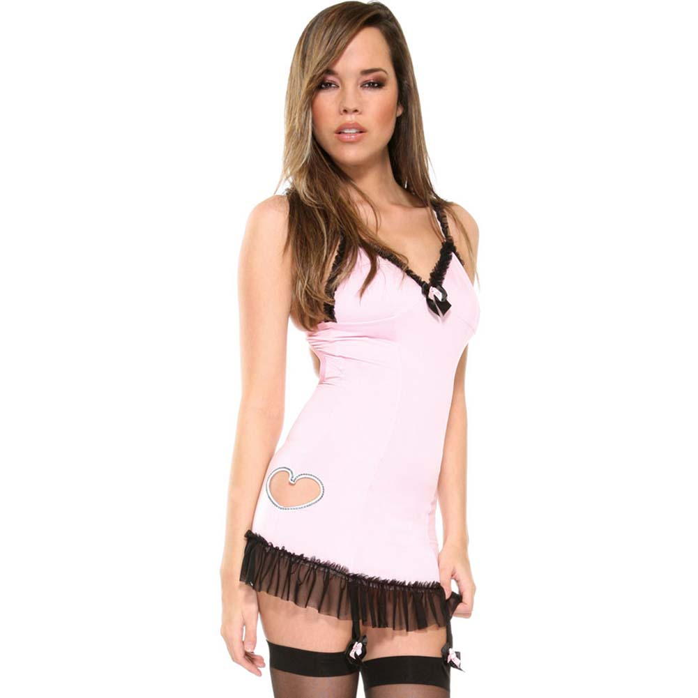 Untamed Heart Gartered Chemise with Panty and Hosiery Set One Size Pink - View #1