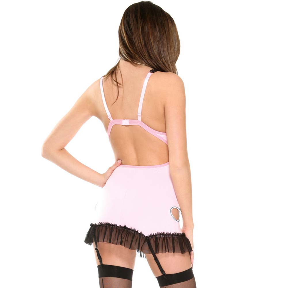 Untamed Heart Gartered Chemise with Panty and Hosiery Set One Size Pink - View #2