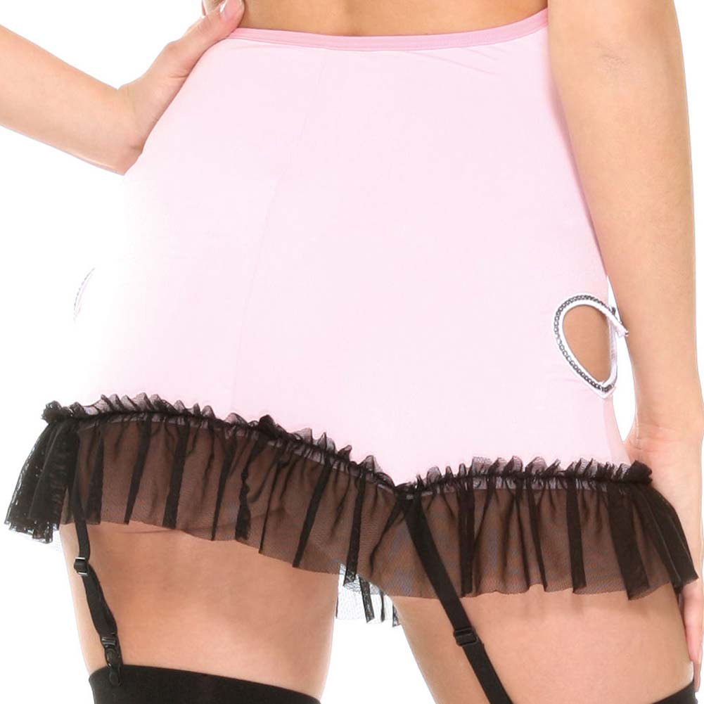 Untamed Heart Gartered Chemise with Panty and Hosiery Set One Size Pink - View #4