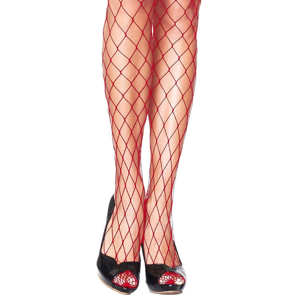 Forplay Fashionable Fence Net Pantyhose One Size Romantic Red - View #2