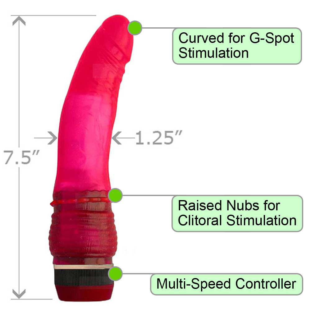 "OptiSex USA Realistic Intimate Vibrator with Clit Nubs 7"" Pink - View #1"