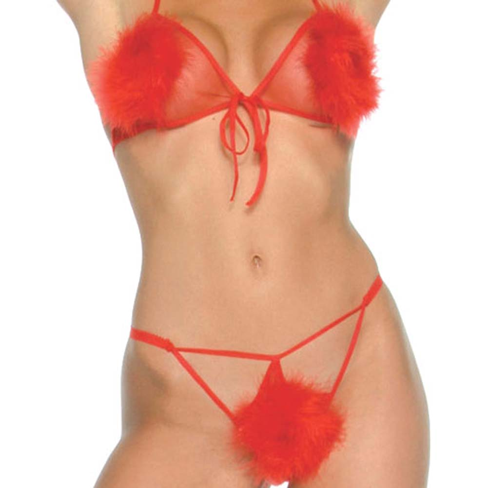 Music Legs Marabou Mesh Top and Matching Thong One Size Red - View #4
