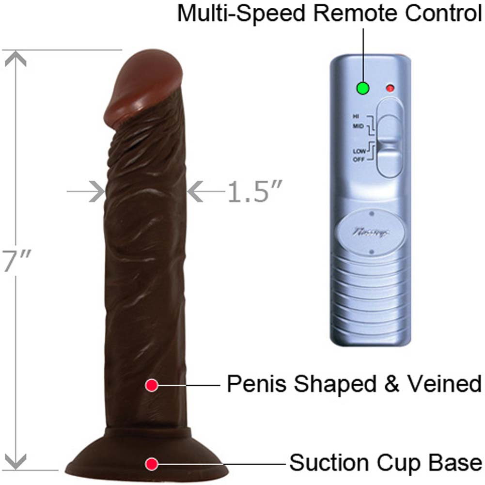 """RealSkin Afro American Whoppers Super Flexible Realistic Vibrator 7"""" Ebony - View #1"""