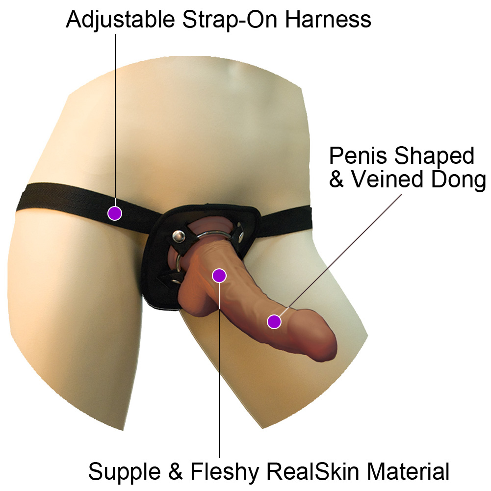 "RealSkin Latin American Whoppers Curved Dong with Universal Harness 6.5"" Brown - View #1"