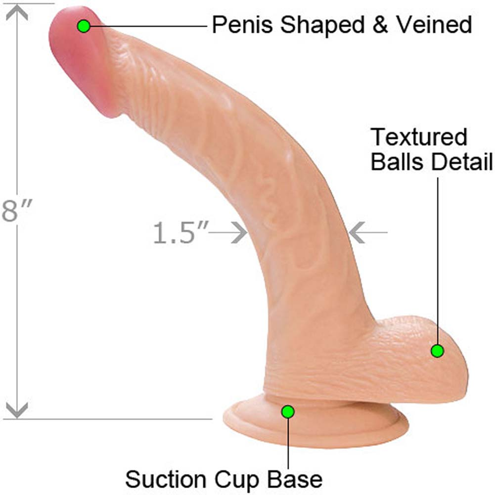 "RealSkin All American Whoppers 8"" Curved Dong with Balls Flesh - View #1"