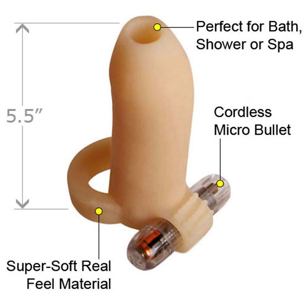 "Ready 4 Action Real Feel Vibrating Penis Enhancer 5.25"" Flesh - View #1"