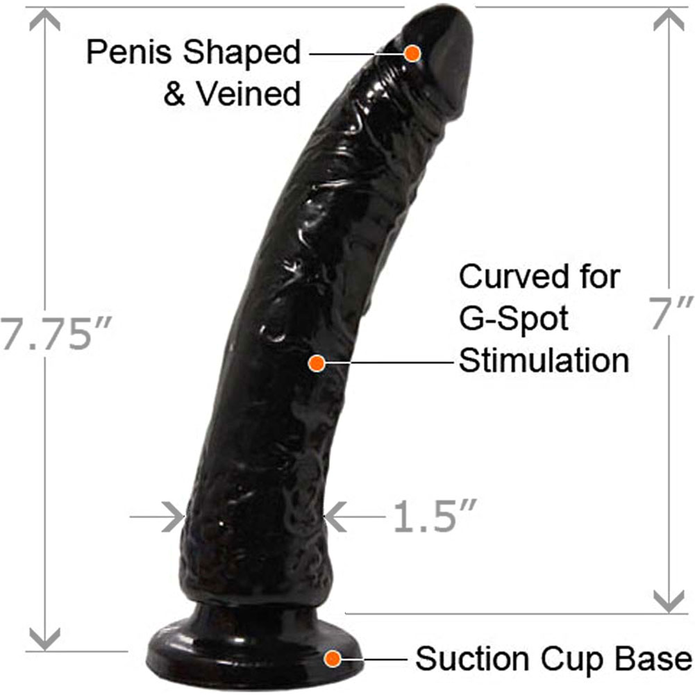 """Basix Rubber Works 7"""" Slim Dong With Suction Cup Black - View #1"""