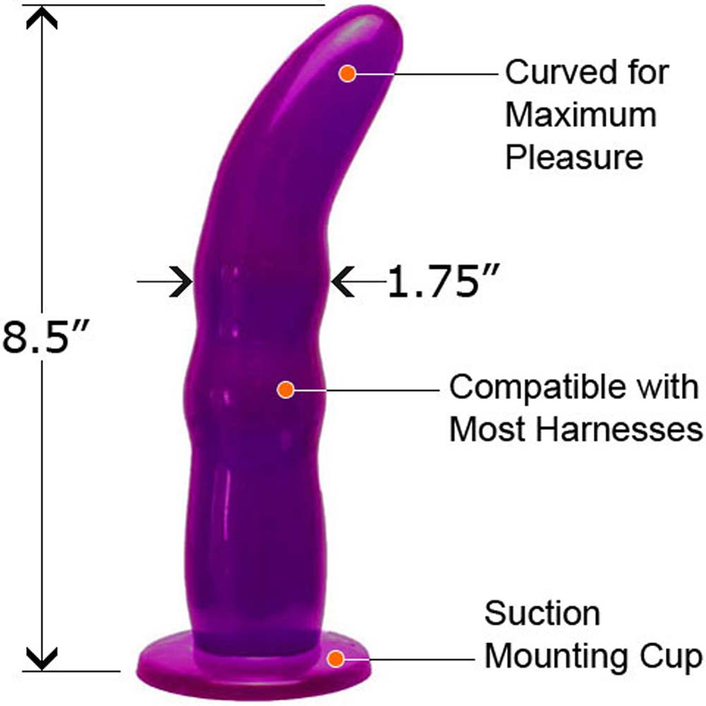 """Fetish Fantasy Strap-On Harness with Grooved G-Spot Dong 8.5"""" Purple - View #2"""