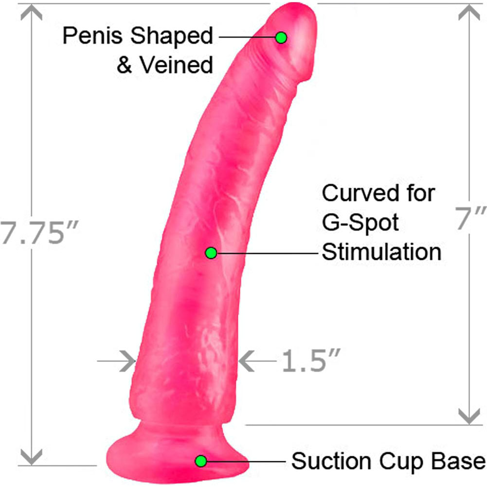 """Basix Rubber Works 7"""" Slim Dong With Suction Cup Pink - View #1"""