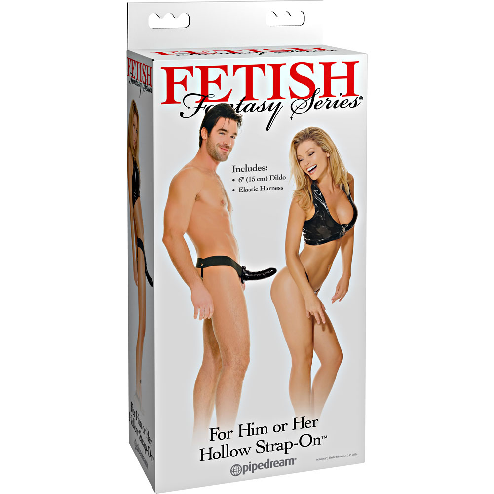Fetish Fantasy Hollow Strap-On Dong for Him or Her Black - View #4