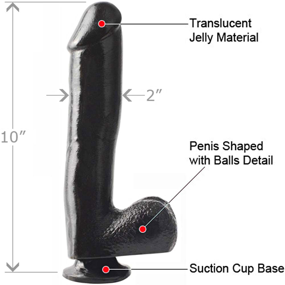 "Basix Rubber Works 10"" Ballsy Dong with Suction Cup Black - View #1"