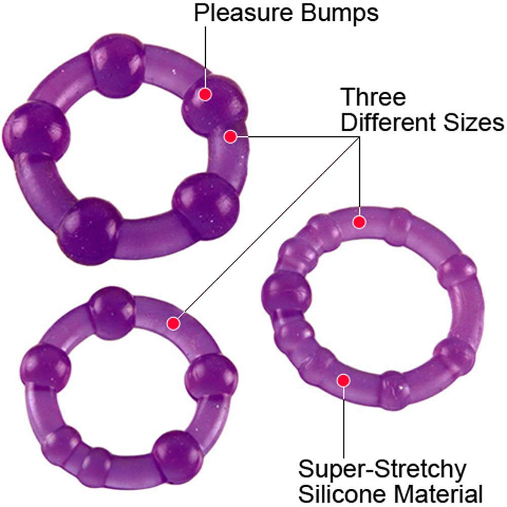 Mega Stretch Beaded Silicone Cockring Set Purple - View #1